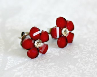 Titanium Post Earrings, Red Glitter Flower with Jewel, 12 mm, Hypoallergenic