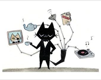 """The Cat in Black  - fine art print 5""""x7"""""""