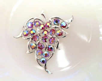 Sarah Conventry Red AB Rhinestone Brooch/Pendant Combination Signed