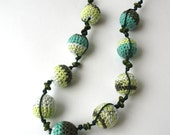 Cotton Wooden Nursing Necklace - Crochet Necklace for mom and child - Teething Necklace -  in teal, jungle, kiwi    E199