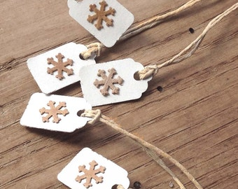 "Gift Tags, 15 - 7/8"" x 13/16"" Tiny Kraft Snowflakes On White, Kraft Brown Holiday or Ornaments, Made Using Repurposed, Recycled Materials"