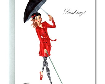 Handmade Card, Fashionista, Girl Chasing Spaniel, Gifts for Women, Original Art, Marker and Ink Illustration, Red & Black, Rainy Day,Dashing