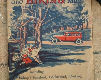 Motoring and Hiking Map Home Counties London and Outskirts 1930s
