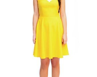 Mod yellow swing dress A line 60s scooter mini dress custom made