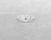 Initial Ring, Initial Heart Ring, Sterling Silver, Letter A Ring, Heart Ring, Stacking Rings, Stacking Ring, Hand Stamped Ring