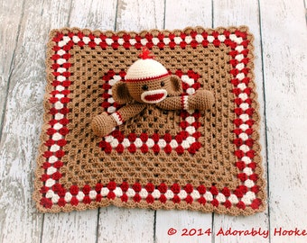Sock Monkey Lovey, Security Blanket, Blankie, MADE TO ORDER