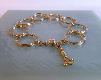 Gold Rings Bracelet Gold Circles Bracelet Large Link Chain Bracelet Wire Jewelry Magnetic Clasp Bracelet