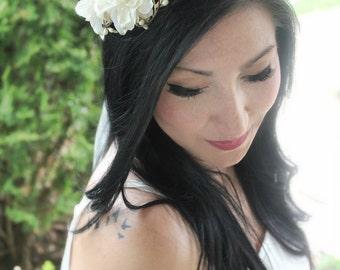 Flower Crown, Wedding Headpiece, Bridal Tiara, Hair Flower - COLE - by DeLoop,  Ivory, White