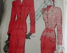 Advance 4649 Womens 40s Jacket Skirt Sewing Pattern Bust 36