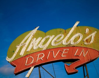 Angelo's Drive In Vintage Neon Sign - Fresno - Retro Home Decor - Vintage Sign Art - Retro Kitchen Decor - Fine Art Photography