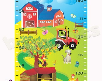 Growth Height Chart Farm & Animals Decal Wall Sticker Removable - by babygraphics