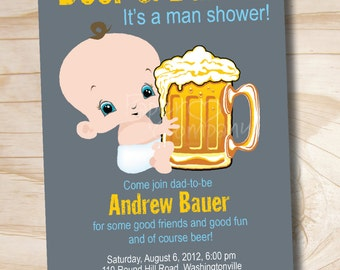 MAN SHOWER Beer and babies Diaper Party Invitation - Printable digital file or printed invitations