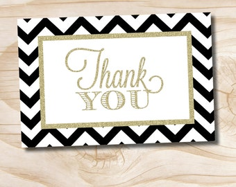 INSTANT DOWNLOAD Black & Gold Glitter Chevron Thank you Card - digital design file