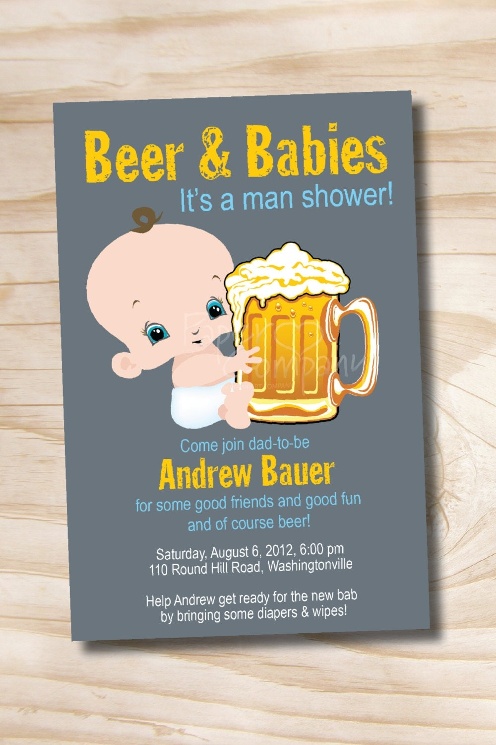 MAN SHOWER Beer and babies Diaper Party Invitation Printable