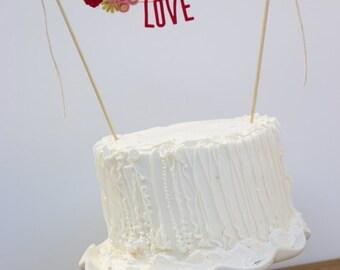 Wedding Cake Banner - Wedding Cake Topper - Love Cake Banner - Wedding Cake Topper: Magenta and Pink