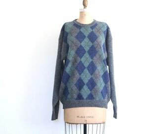 argyle crewneck men's shetland wool sweater / wool boyfriend sweater / Ivy League - vintage 80s preppy sweater