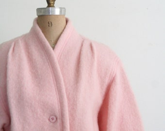 pale blush pink wool jacket - soft pastel wool 80s jacket / Chaus - ladies ballet pink wool blazer / vintage 80s wool jacket