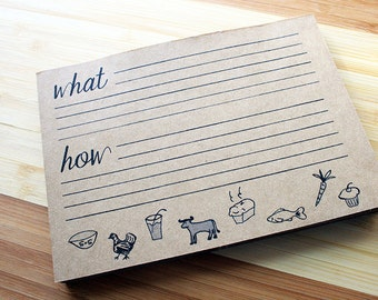 Recipe Cards -- Notepad -- 25 Cards -- Kraft Brown