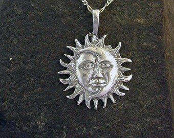 Sterling Silver Moon Sun Pendant on a Sterling Silver Chain