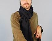 Unisex Scarf - Men's Scarf - Hemp Organic Cotton - Black - Eco Friendly - Jersey Scarf