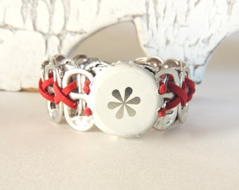Izze Bottle Cap Wristband - Soda Tab/ Beer Cap bracelet - red, while - unisex - eco-friendly jewelry - under 15