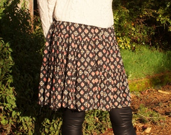 Tiered Mini Grunge Pleated Skater Skirt 90's Floral