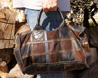 Leather Duffle Bag Patchwork 1970's Travel Bag