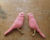Pair of knitted canaries