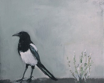 "Magpie original painting 'Luck Equilibrium' 10"" x 12"""