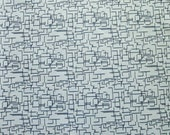 """64"""" x 103"""" Fabric, Vintage Polyester Dark Navy Blue Lines and Grey, 3 yards"""