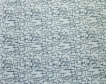 "64"" x 103"" Fabric, Vintage Polyester Dark Navy Blue Lines and Grey, 3 yards"