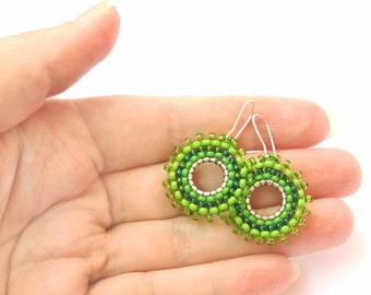Green Hoop Earrings, Seed Bead Round Earrings, bohemian earrings, Beadwork Earrings, green earrings, gift for women, gift for sister