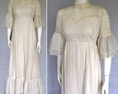 vintage 70s boho dress wedding garden eyelet Courier California medium