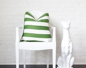 "Green and White Linen Stripes- Decorative Pillow Cover-  18x18"" - 12x18"""