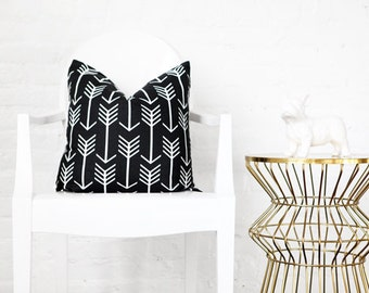"Black Arrows Decorative Pillow Cover 18x18""  - Black- White- Arrow"