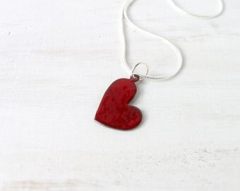 Red heart love Enamel pendant necklace artisan jewelry gifts by Alery