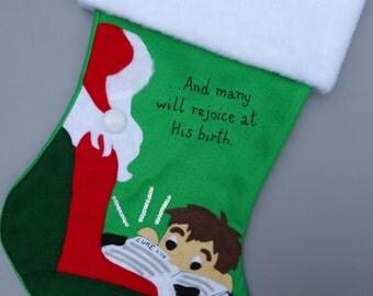 """Christian Christmas Stocking: Boy or Girl--""""Reason for the Season"""""""