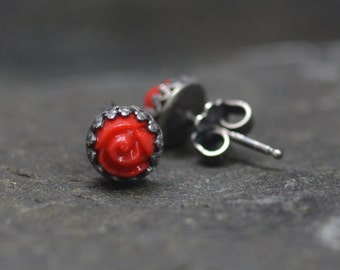 Handmade Sweetheart Red Rose Earrings, Red Stud Earrings, Valentine's Day Gift, Post Back, Sterling Silver, Vintage Glass, Edwardian Style