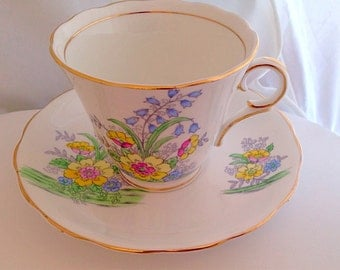Colclough Teacup & Saucer Set  Cottage Garden - Pink Yellow Blue Green English Fine Bone China Vintage  bluebells  Art deco style daisy 6589