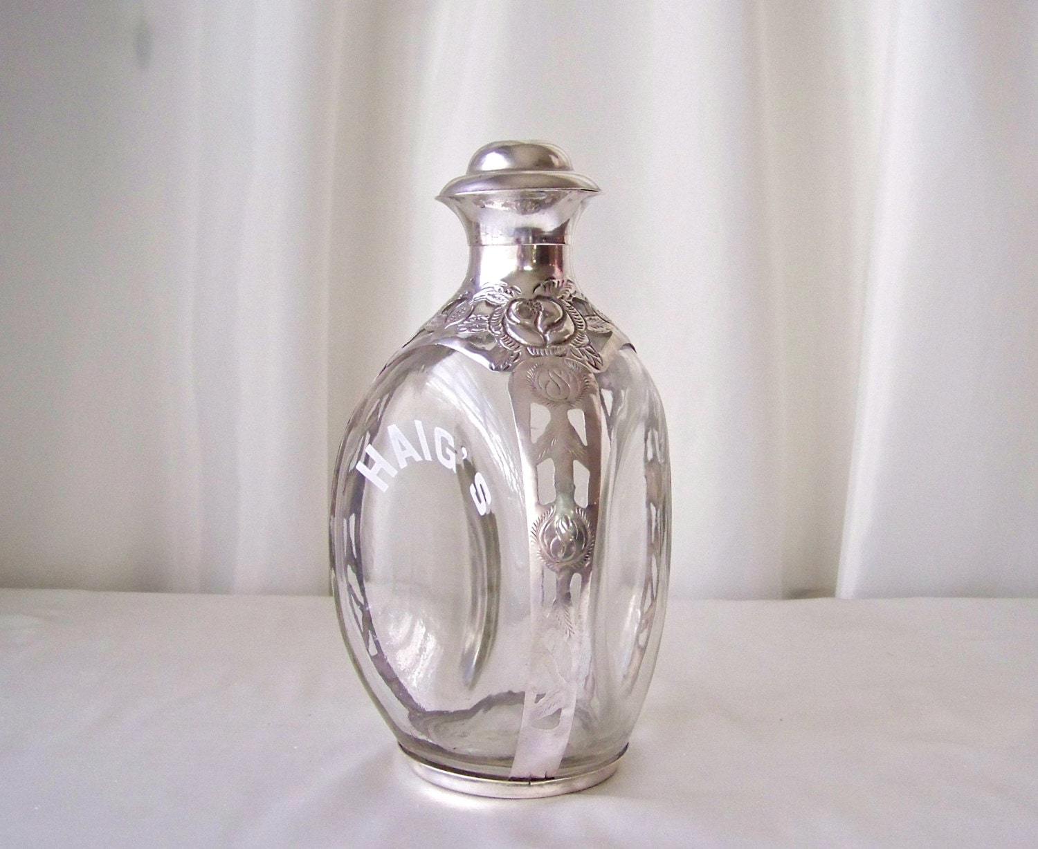 vintage haig whiskey decanter sterling overlay mexico barware. Black Bedroom Furniture Sets. Home Design Ideas