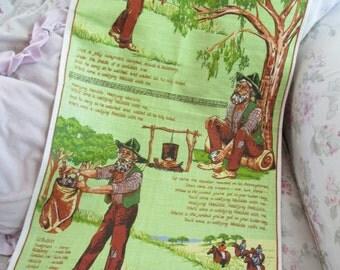 Vintage Printed Souvenir Kitchen Towel - Waltzing Matilda Linen Hand Printed Australia UNUSED Q124