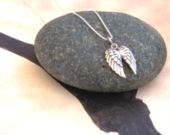 Sterling Silver Angel Wings-Inspirational Jewelry-Yoga Spirit-Gift-Zen Jewelry