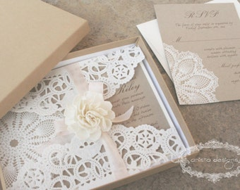 SALE : lace invitations - Lace doily - featured in VOGUE UK - Boxed invitation - Lillian Collection-  Sample