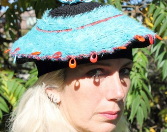 Black & Baby Blue Crochet Hat with a Beautiful Hand Made Blue Flower Pin...