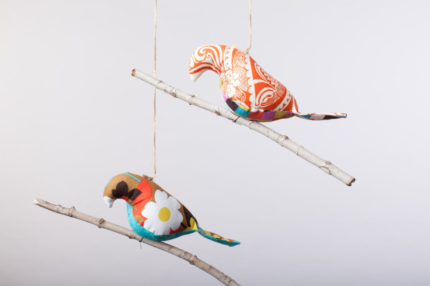 Bird on a Twig in Orange and MultiColored florals ~ Nursery Decor ~ Home Decor ~ Photo Prop