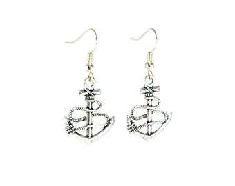 Silver Anchor Earrings - Surgical Steel - Anchor Earrings - Nautical