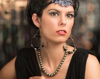 Gray Headband, Great Gatsby Headband, Pewter Headpiece, Flapper Dress, Black, 1920s Dress, Gatsby Dress, Art Deco Headpiece