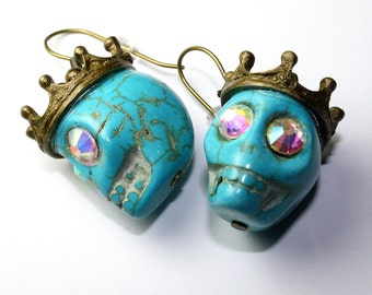 Day of the Dead Earrings Dia de los Muertos Turquoise King Crown  Sugar Skull Dangle Original Jewelry