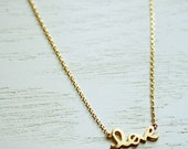 Love Necklace Gold, Tiny Love Necklace, Love Charm Necklace, Love Script Necklace