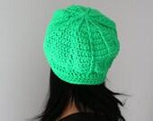 Lime Green Spider Web Design Beanie Hat, Classic Green Beanie Hat